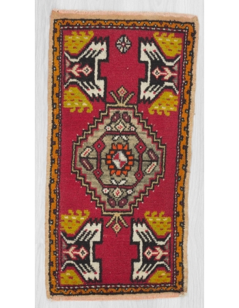 Vintage handknotted mini rug