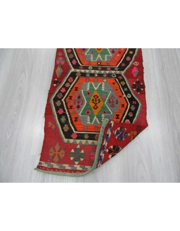 Vintage small colorful kilim rug