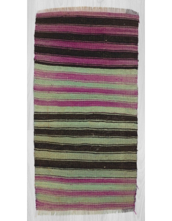 Purple,black,green striped mini kilim rug
