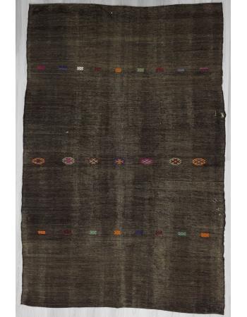 Handwoven vintage black kilim rug
