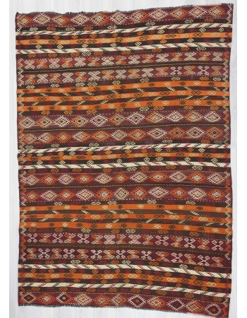 Vintage handwoven embroidered Turkish kelim rug