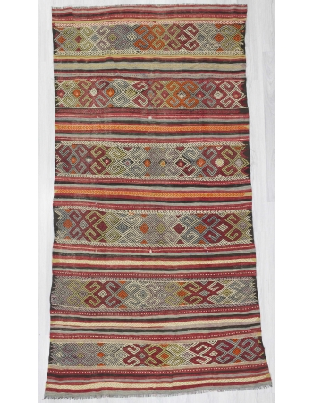 Vintage embroidered kilim rug