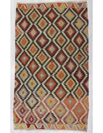 Vintage colorful Turkish kilim rug