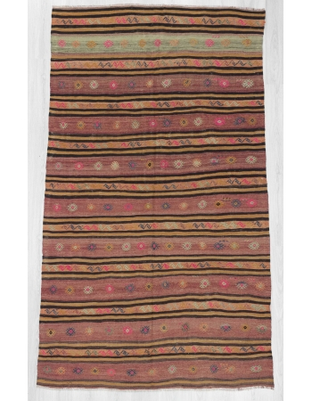 Striped & Embroidered vintage Turkish kilim rug