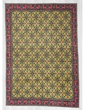 Vintage yellow ground floral Turkish rug