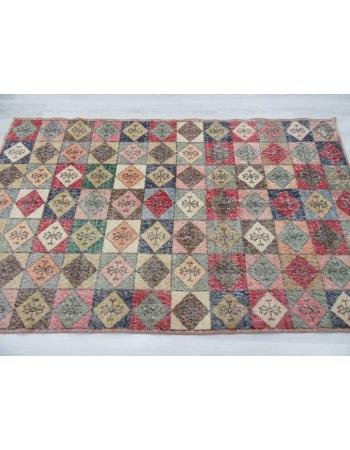 Vintage colorful Turkish deco rug