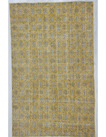 Vintage yellow Turkish deco rug