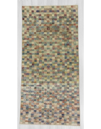 Vintage mosaic designed Turkish deco rug