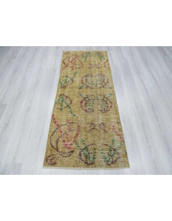 Yellow vintage Turkish deco rug