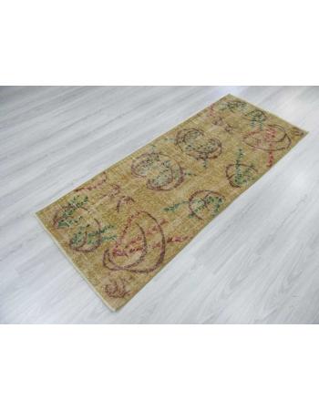 Yellow vintage Turkish deco rug
