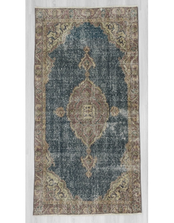 Distressed navy ground Turkish Oushak rug