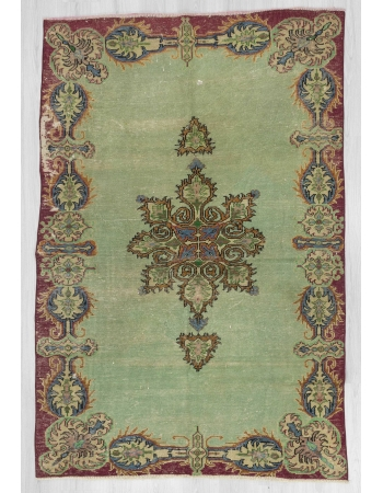 Vintage green distressed Turkish Oushak rug