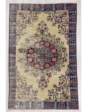 Vintage worn out Turkish Oushak rug
