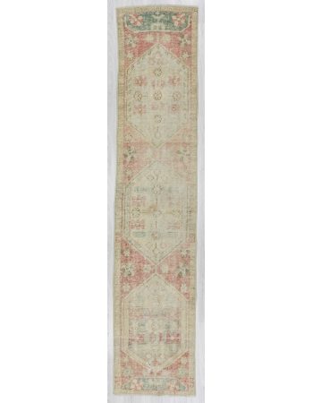 Distressed Turkish Oushak runner rug