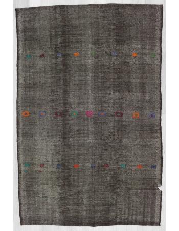 Vintage embroidered black Turkish goat hair kilim rug