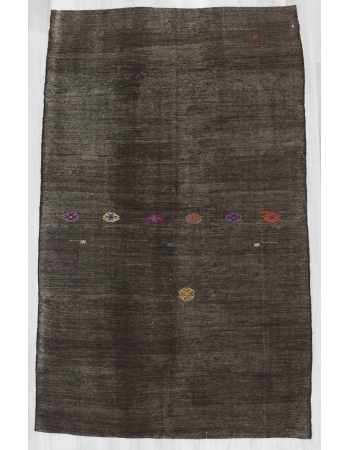 Black embroidered vintage Turkish goat hair kilim rug