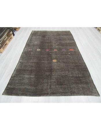 Black embroidered vintage Turkish goat hair kilim rug