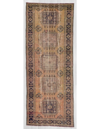 Vintage wide Turkish oushak runner rug