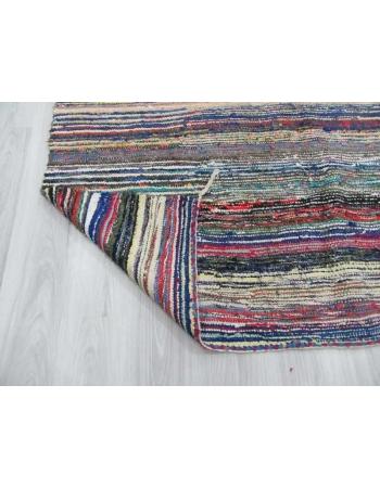 Vintage striped Turkish rag rug