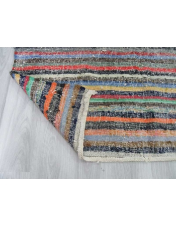 Vintage colorful striped rag rug