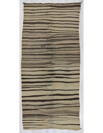 Vintage natural striped Turkish kilim rug