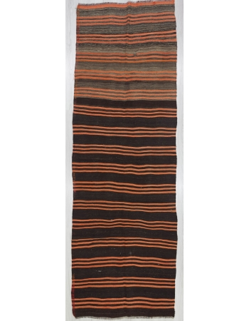 Black Orange Striped Kilim Runner