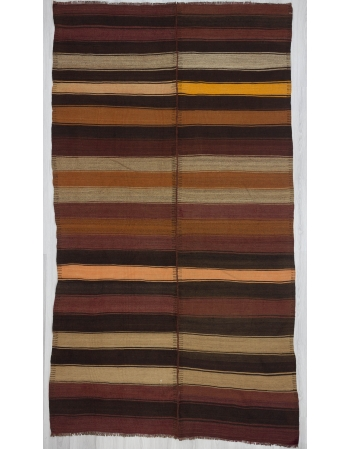 Striped vintage Turkish kilim area rug