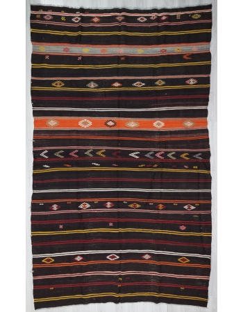 Vintage black striped large Turkish kilim rug