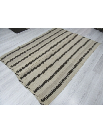 Vintage black striped natural kilim rug