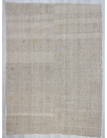 Vintage gray modern Turkish kilim rug