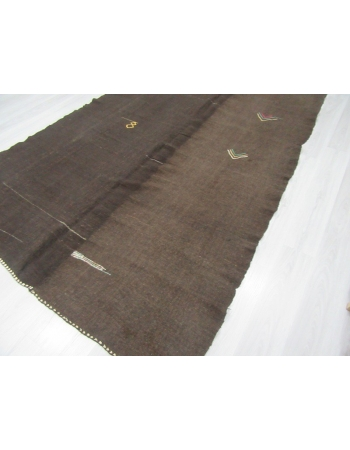Dark brown vintage unique Turkish kilim rug