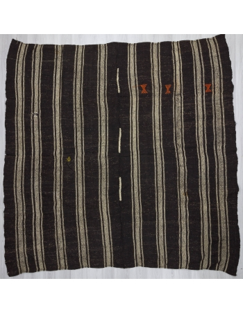 Vintage Black/Gray striped square kilim rug