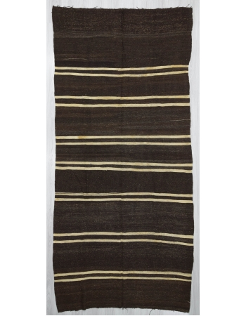 Vintage White striped Goat Hair kilim rug