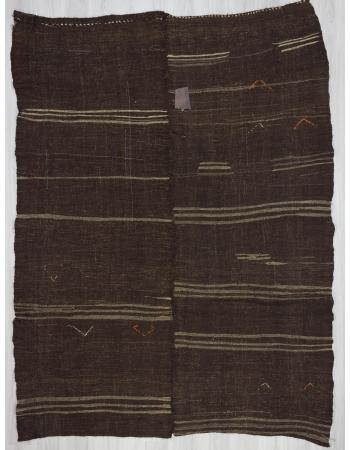 Vintage striped brown unique kilim rug