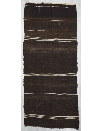Vintage White striped brown unique kilim rug