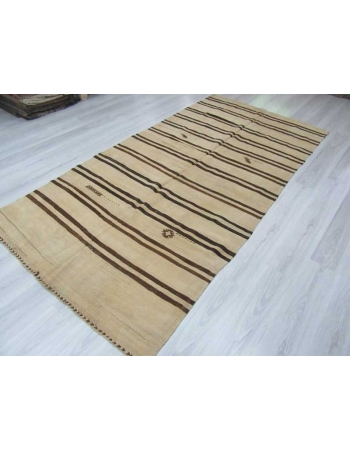 Brown striped vintage natural kilim rug