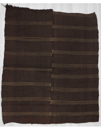 Striped dark brown vintage kilim rug