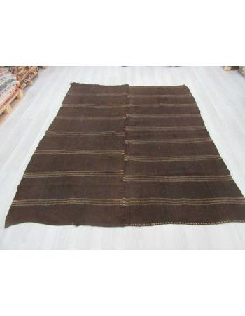Striped dark brown vintage kilim rug