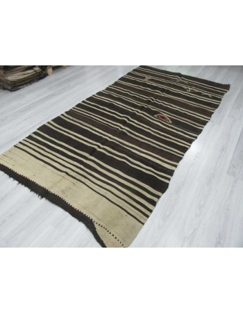 Black Brown White striped vintage kilim rug