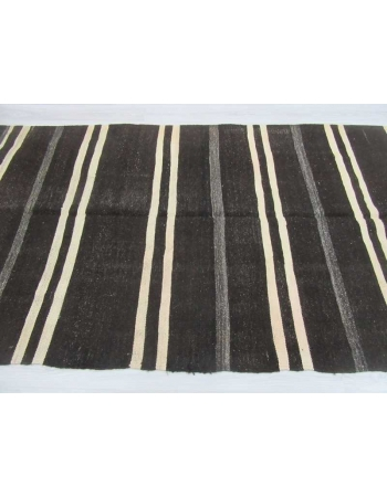 Black/White striped vintage kilim rug