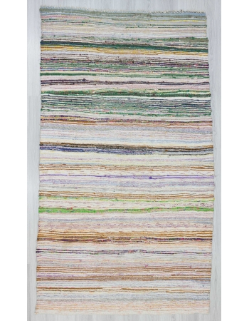Striped vintage Turkish rag rug