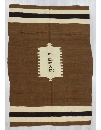 Vintage brown blanket kilim rug