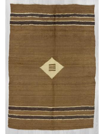 Vintage brown camel hair blanket kilim rug