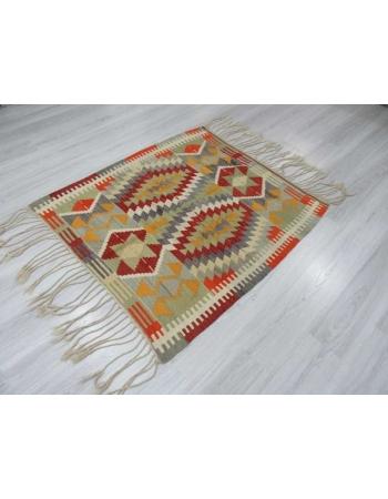 Vintage colorful Turkish kilim rug