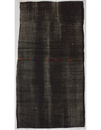 Vintage black goat hair kilim rug
