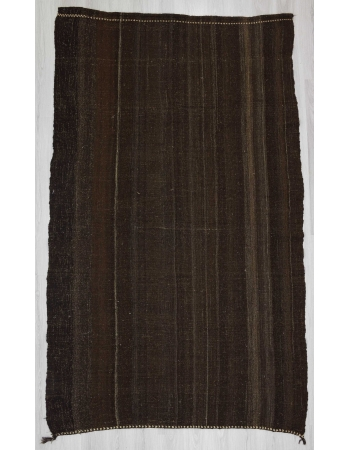 Dark brown vintage goat hair kilim rug
