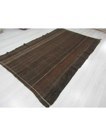 Dark brown vintage goat hair kilim rug