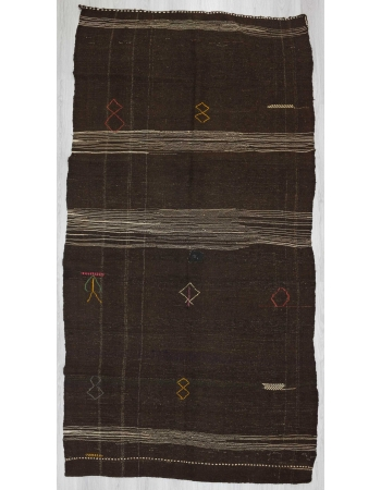Vintage embroidered unique brown kilim rug