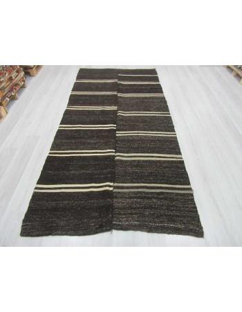 White striped vintage black kilim rug