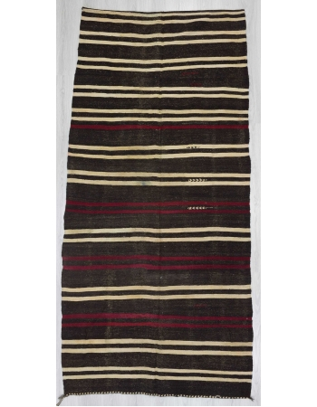 Striped vintage goat hair kilim rug